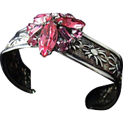 Upcycled Sparkling Raspberry Rhinestone Cluster Sits Atop A Handsome Floral Sterling Silver Open Cuff Bracelet