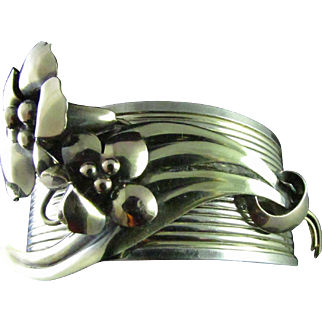 Upcycled CARL ART Long-Stemmed Delicate Flowers Add Warmth To The Open Cuff Banded Golden Washed Sterling Silver Bracelet