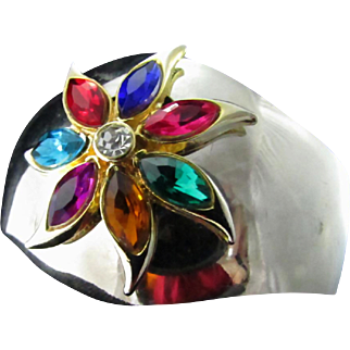 Upcycled Colorful Starburst Tops A Sterling Silver Wide Cuff Bracelet ~ It's A Lovely Blend Of Colors Bursting Forth From Shimmery Silver