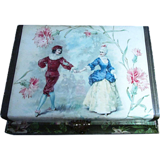 C Klein Victorian Celluloid Box With Victorian Dancing Couple ~ Inside Rests The Powdered Victorian Lady Gilded Round Hand Mirror ~ Both Are In Great Antique Condition