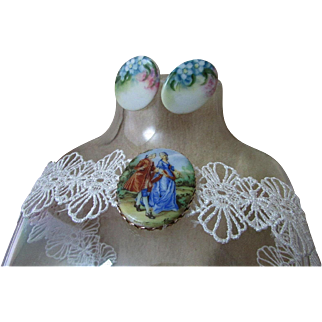 Upcycled Demi-Parure ~ Vintage Porcelain Strolling Couple (Picture Brooch) Blesses A Stunning Purple, Lacy, Floral Choker ~ Accenting Upcycled (Buttons) Earrings