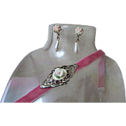 Upcycled Demi-Parure ~ Tiny, Pale Pink Rose Embedded In A Diamond Of Silver That Rests Atop A Soft, Raspberry Pink Velvet Choker ~~ Boot Bracelet ~ Outstandingly Delicate & Might Fine Tiny Pink Porcelain Roses With Dangling TearDrop Pearl Earrings !!