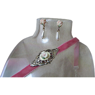 Upcycled Demi-Parure ~ Tiny, Pale Pink Rose Embedded In A Diamond Of Silver That Rests Atop A Soft, Raspberry Pink Velvet Choker ~~ Outstandingly Delicate & Might Fine Tiny Pink Porcelain Roses With Dangling TearDrop Pearl Earrings !!