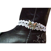 Upcycled White Lacy Open Weave Designed Boot Bracelet aka Lacy Choker ~  Carries With It An Abalone, Re-Purposed Butterfly !! So Sweet, So Sexy !! Oo La La !!