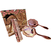 Silver Plated Pink Roses Folding Vanity  Mirror With Matching SilverPlated Brush Set Trimmed In Handsome Pink Enamel Roses ~ Brush, Comb and Hand Mirror