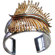 Upcycled Wide Cuff Sterling Silver Bracelet With Deep-V Filled Mostly By The Handsome Wispy, Golden Feather ~ Stunning, Mysterious & Sturdy