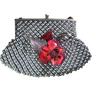 Whiting & Davis Silvery Metallica Beaded Purse ~ Upcycled & Glamorized With A Gorgeous Floral Arrangement For Added Pleasure