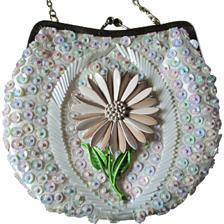 Vintage Silk Purse ~ Heavily Sequined & Beaded Hong Kong Treasure Embellished By A HEDY Flower