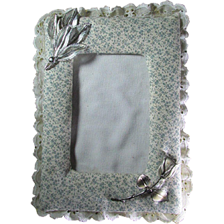 Embellished 1980's Vintage Padded Lacy Calico Wall Picture Or Photo Frame