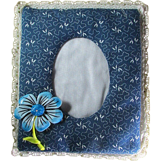 Lacy Calico Picture Frame With An Added Floral Touch ~ Upcycled Wall Art From The 1980's ~ Oval Picture Opening