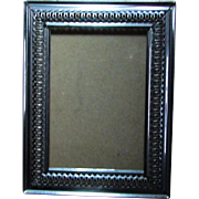 Vintage Glassed Silvery Metal Picture Frame ~ Wall Or Upright ~ Lightly Patterned ~ Never Used