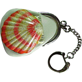 Vintage Leather Ring Holder/Key Chain Coin Purse That Now Bears A Beautiful, Colorful Scallop Shell