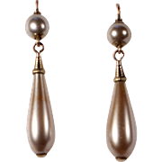 Antique Drop Blown Pearl Earrings Late French Victorian Jewelry