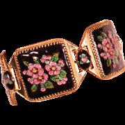 Vintage 40's Limoges Enamel Large Links Bracelet Signed By The Artist GAMET