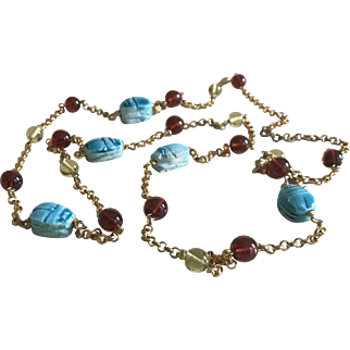 Art Deco Long Beaded Necklace Ceramic Scarabs 1920's French Jewelry