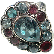 Antique Silver Ring Garnet And Light Blue Zircon French Victorian Jewelry Size 6.50 US