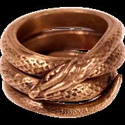 Antique Art Nouveau Brass Snake Ring Size 11 Man's Ring