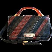 Vintage 60's Snake Skin Handbag Bakelite Handle French Accessory