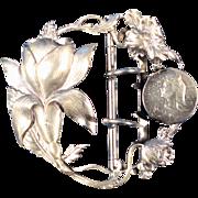 Antique Silverplate Large Belt Buckle French Art Nouveau Floral