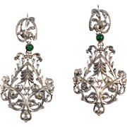 Antique Silver Plate Floral Pendant Earrings French Victorian Jewelry