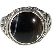 Antique large Agate Cabochon Silver Floral Ring Stamped 835 Size 8.50 US