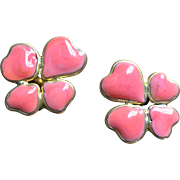 GRIPOIX Vintage  Pate De Verre Floral Earrings French Haute Couture Jewelry Circa 60/70