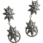 Antique Silver Plate Flower Earrings Edwardian French Jewelry