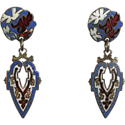 Antique Enamel Dangle Earrings Victorian French Jewelry