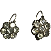 Antique Floral Earrings On Silver Victorian French Jewelry Stamped
