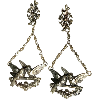 Antique Silver Plate Dangle Earrings Romantic French Jewelry Circa 1830