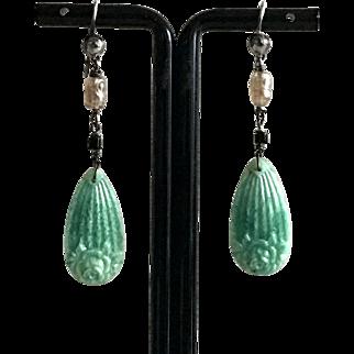 Art Deco Pate de Verre Floral Drop Earrings Sterling Hooks 1920's French Jewelry