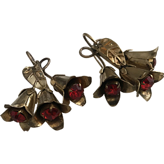 large Art Deco Gold Tone Flower Earrings French Jewelry