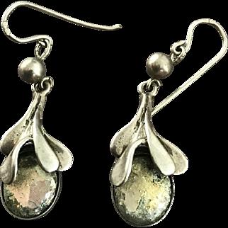 80's Scandinavian Silver Design Pendant Earrings Signed Stamped