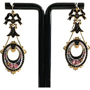 Antique Enamel Dangle Earrings Romantic Period