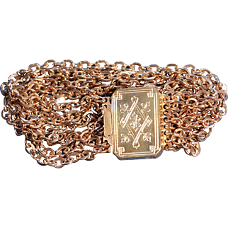 Antique Gold Tone Strands Bracelet French Victorian Jewelry