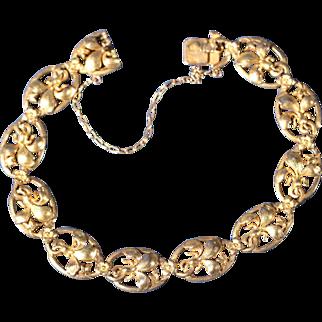 Antique Art Nouveau Gold Plated Floral Bracelet Exquisite French Jewelry