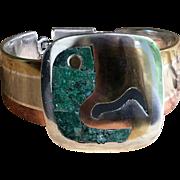 Vintage 50's Los Castillo Heavy Modernist Silver Bracelet Stamped