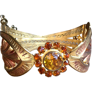 Antique Gold Tone Floral Hinged Bracelet Theater Jewelry From A Private Collection