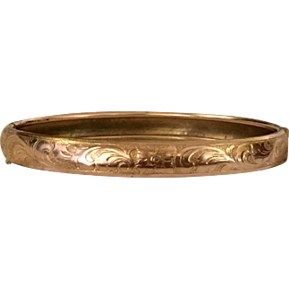 Antique Gold Plate Flowers And Leaves Bracelet Stamped Gold Plate French Jewelry Circa 1900