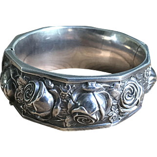 Art Deco Sterling Floral Bracelet Stamped