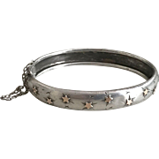 Antique Silver Hinged Band Bracelet Victorian French Jewelry Stamped