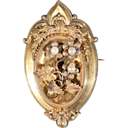 Antique Large Gold Plated And Cultured Pearls Napoleon III Floral Brooch