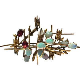Vintage 70's 14k Yellow Gold Opal Garnet Abstract Brooch Artist's Jewelry Stamped