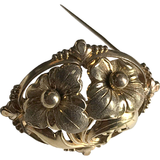 Antique Gold Plated Floral Brooch Napoleon III Jewelry