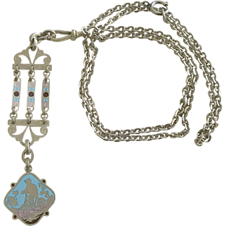 Antique Extra Long Enamel Pendant Necklace French Jewelry Circa 1880-1890