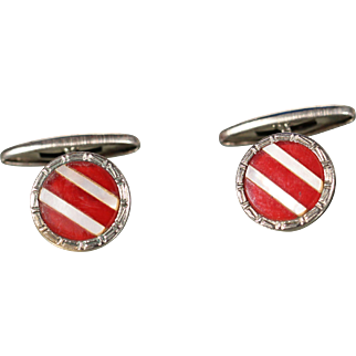 Art Deco Bakelite Mother Of Pearl On Silver Plate Cuff Links 1930's French Accessories