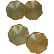 Art Deco Gold Plated Cuff Links 1930's French Accessories Stamped Gold Plated