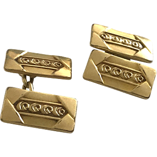 Art Deco Gold Plated Cuff Links 1920's French Accessories Brand Oria