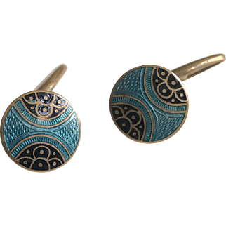 Art Deco Enamel Cuff Links 1920's French Accessories