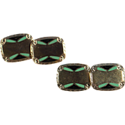 Art Deco Enamel Double Face Cuff Links On Gold Plated 1930's French Modernist Men's Accessories